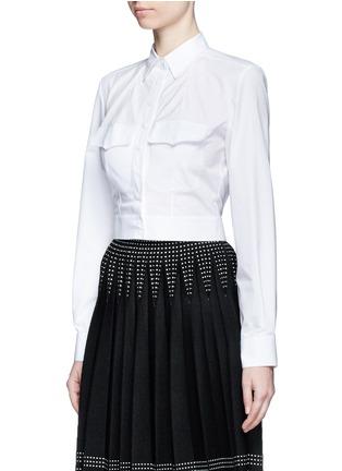 Front View - Click To Enlarge - Alaïa - Pocket cropped poplin shirt
