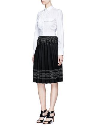 Figure View - Click To Enlarge - Alaïa - Pocket cropped poplin shirt