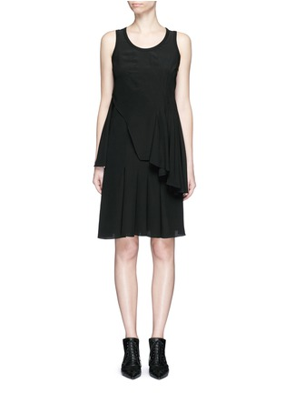 Givenchy - Rib knit trim asymmetric pleat silk dress