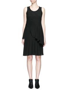 GIVENCHYRib knit trim asymmetric pleat silk dress