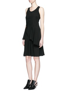GIVENCHY Rib knit trim asymmetric pleat silk dress