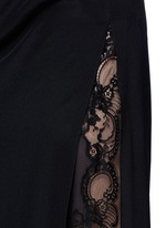 Ruche one-sleeve lace insert silk gown