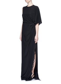 GIVENCHY Ruche one-sleeve lace insert silk gown