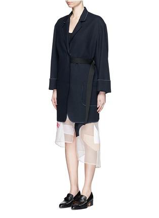 Front View - Click To Enlarge - Acne Studios - 'Bariah Panama' asymmetric belt cotton-wool coat