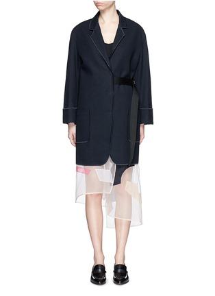 Main View - Click To Enlarge - Acne Studios - 'Bariah Panama' asymmetric belt cotton-wool coat
