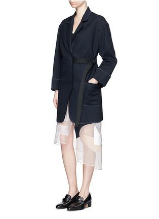Figure View - Click To Enlarge - Acne Studios - 'Bariah Panama' asymmetric belt cotton-wool coat