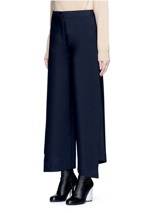 Front View - Click To Enlarge - Acne Studios - 'Haddie' asymmetric cuff wool-mohair wide leg pants