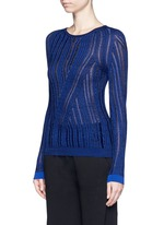 'Marcy Moulin' ladder stitch rib knit sweater