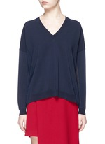'Heia' cotton blend V-neck sweater