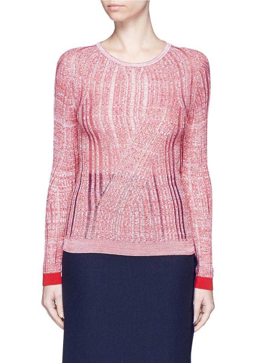 Marcy Moulin Ladder Stitch Rib Knit Sweater Red White Modesens