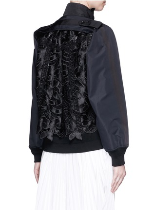 Back View - Click To Enlarge - Sacai - Floral embroidery lace trench bomber jacket