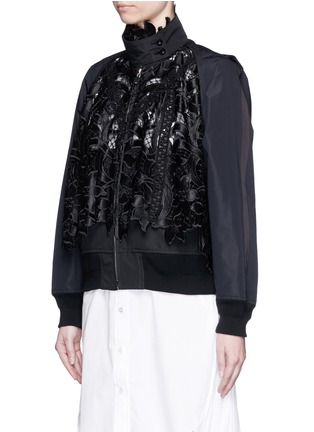Front View - Click To Enlarge - Sacai - Floral embroidery lace trench bomber jacket