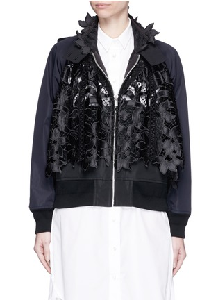 Main View - Click To Enlarge - Sacai - Floral embroidery lace trench bomber jacket