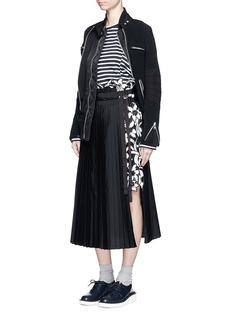 SACAIEmbroidery lace poplin pleat midi skirt