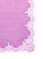 Floral lace border wool-silk scarf
