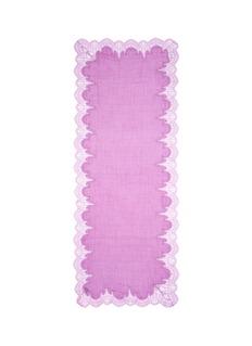 JANAVIFloral lace border wool-silk scarf