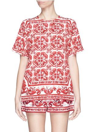 Dolce gabbana maiolica print brocade t shirt women for Dolce gabbana t shirt women