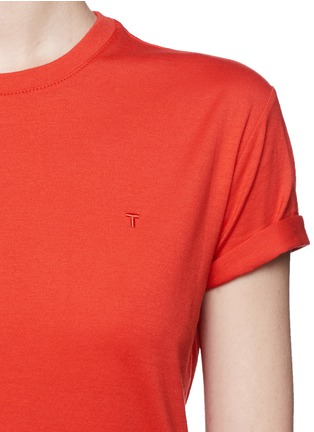 Detail View - Click To Enlarge - T By Alexander Wang - Roll cuff superfine cotton T-shirt