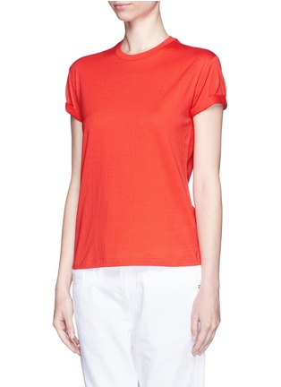 Front View - Click To Enlarge - T By Alexander Wang - Roll cuff superfine cotton T-shirt