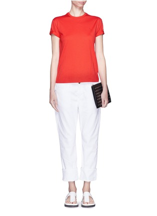 Figure View - Click To Enlarge - T By Alexander Wang - Roll cuff superfine cotton T-shirt