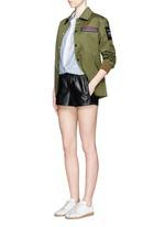 'Pajama' elastic waist leather shorts