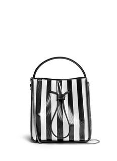 3.1 PHILLIP LIM 'Soleil' small stripe leather bucket drawstring bag