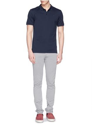 模特儿示范图 - 点击放大 - FAÇONNABLE - Logo embroidery cotton piqué polo shirt