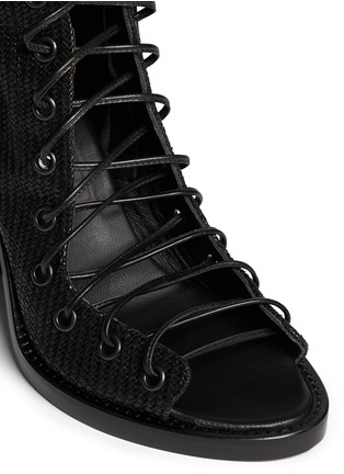 Detail View - Click To Enlarge - ANN DEMEULEMEESTER - Basketweave leather lace up ankle boots
