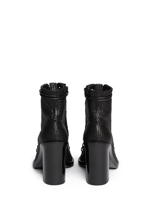 Back View - Click To Enlarge - ANN DEMEULEMEESTER - Basketweave leather lace up ankle boots