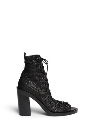 Main View - Click To Enlarge - ANN DEMEULEMEESTER - Basketweave leather lace up ankle boots
