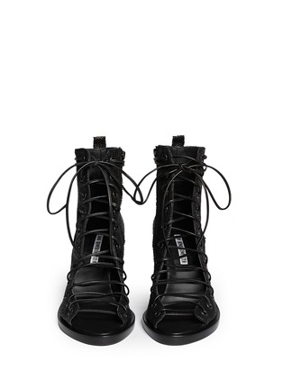 Figure View - Click To Enlarge - ANN DEMEULEMEESTER - Basketweave leather lace up ankle boots