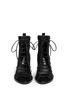 ANN DEMEULEMEESTER Basketweave leather lace up ankle boots