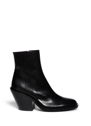 Main View - Click To Enlarge - ANN DEMEULEMEESTER - Curve block heel leather boots