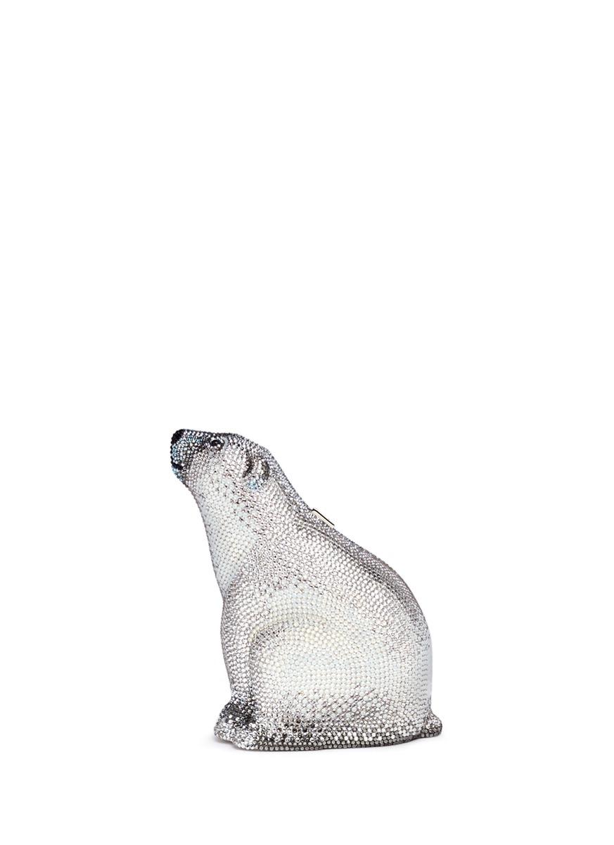 Polar Bear crystal pavé minaudière by Judith Leiber