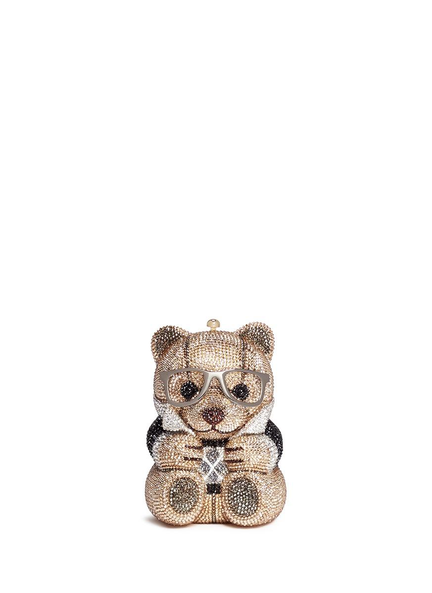 Teddy Bear Spencer crystal pavé minaudière by Judith Leiber