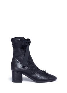 ValentinoRibbon lace-up nappa leather ballerina boots