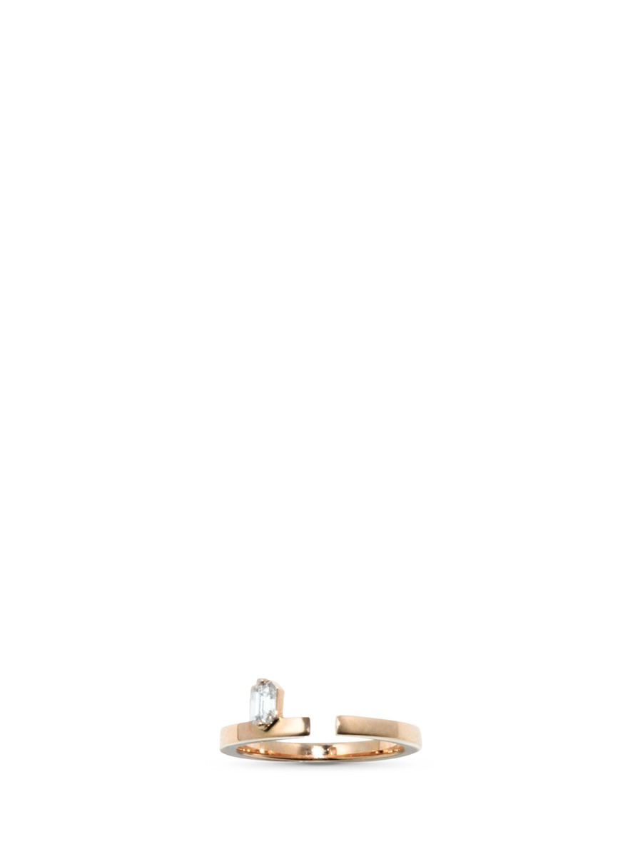 Disruptive emerald cut diamond 18k rose gold ring by Dauphin