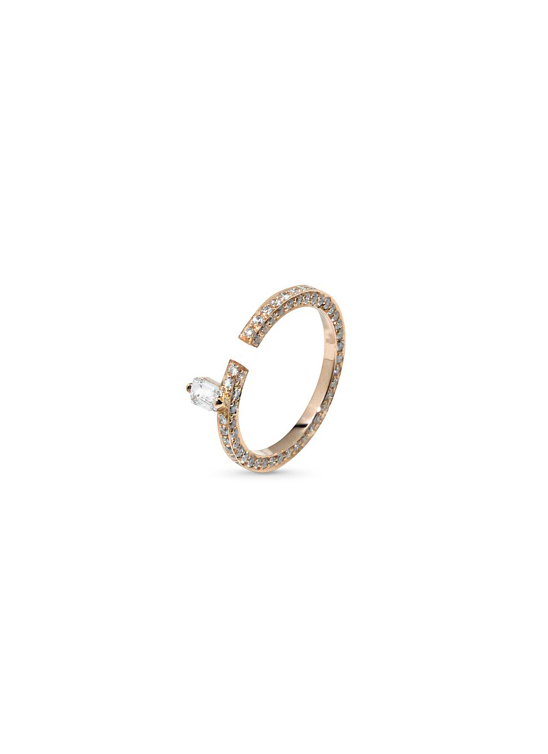 Disruptive pavé diamond 18k rose gold ring by Dauphin