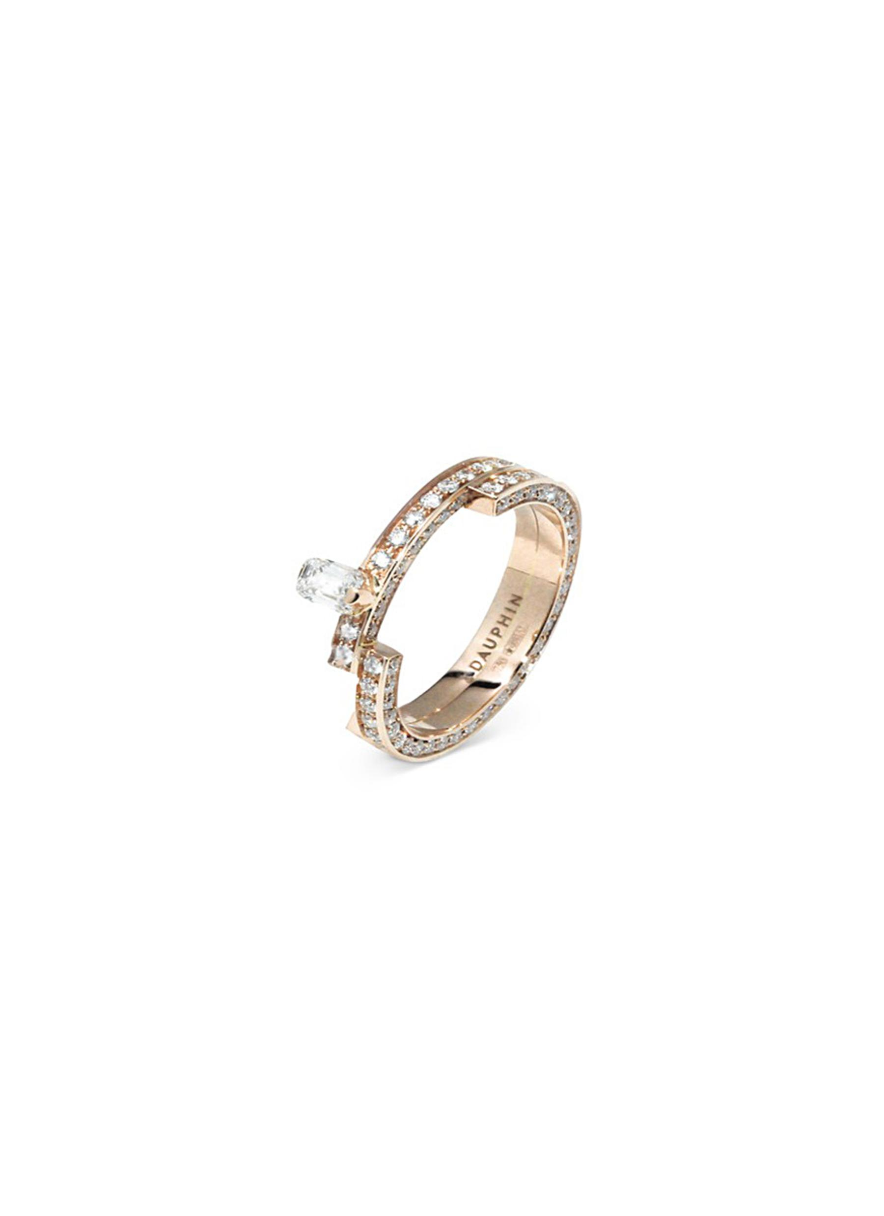 Disruptive pavé diamond 18k rose gold two tier ring by Dauphin