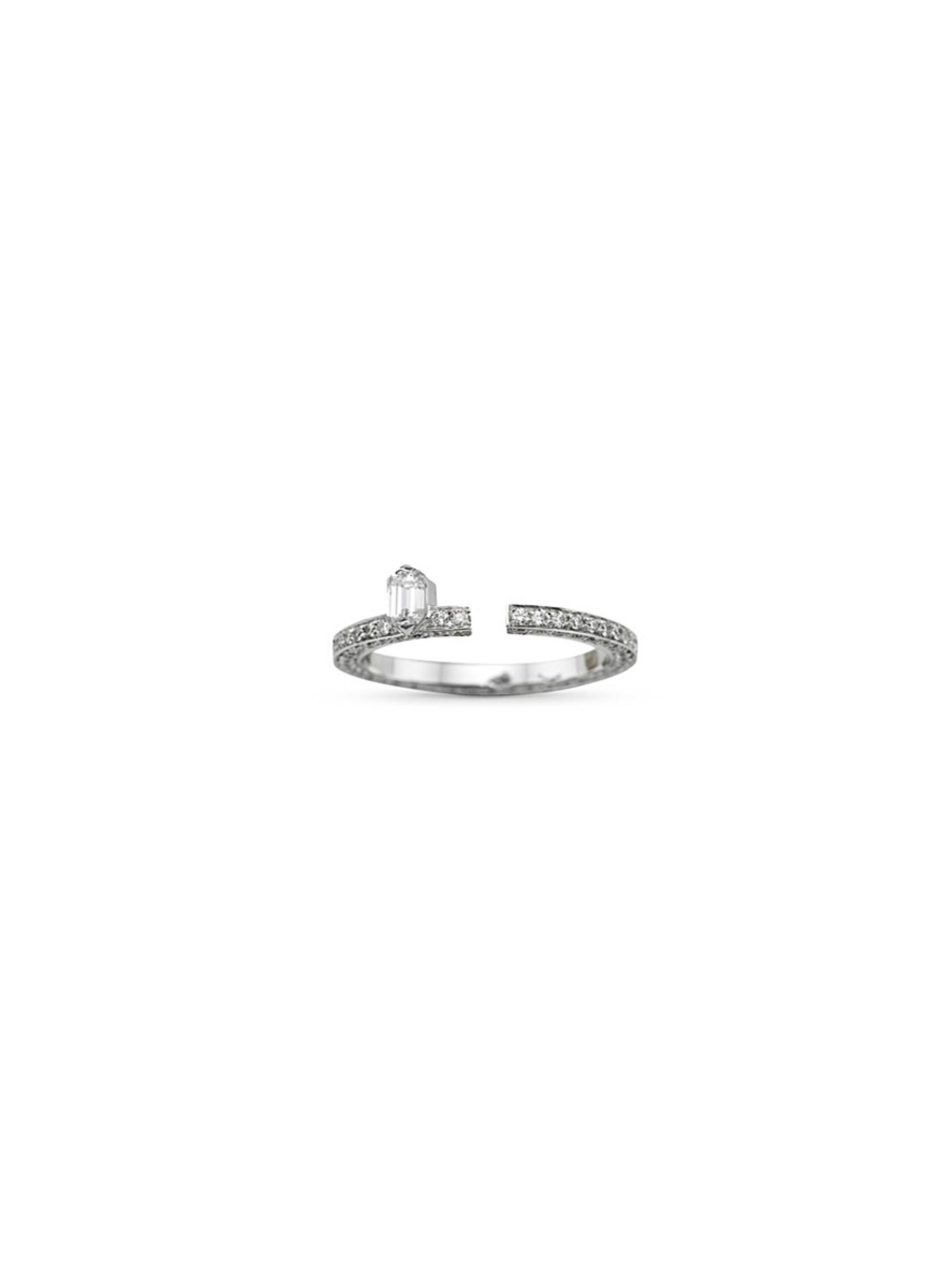 dauphin female disruptive pave diamond 18k white gold ring