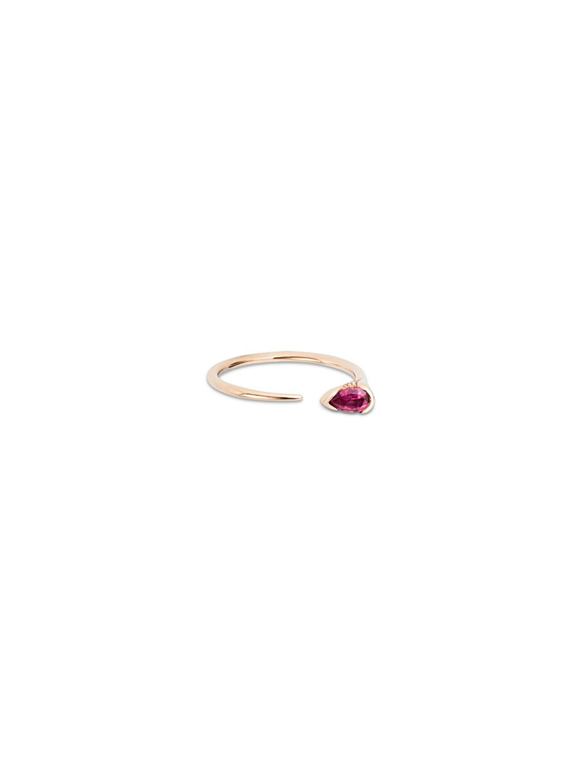 Sprout diamond rubellite 18k rose gold ring by Fernando Jorge