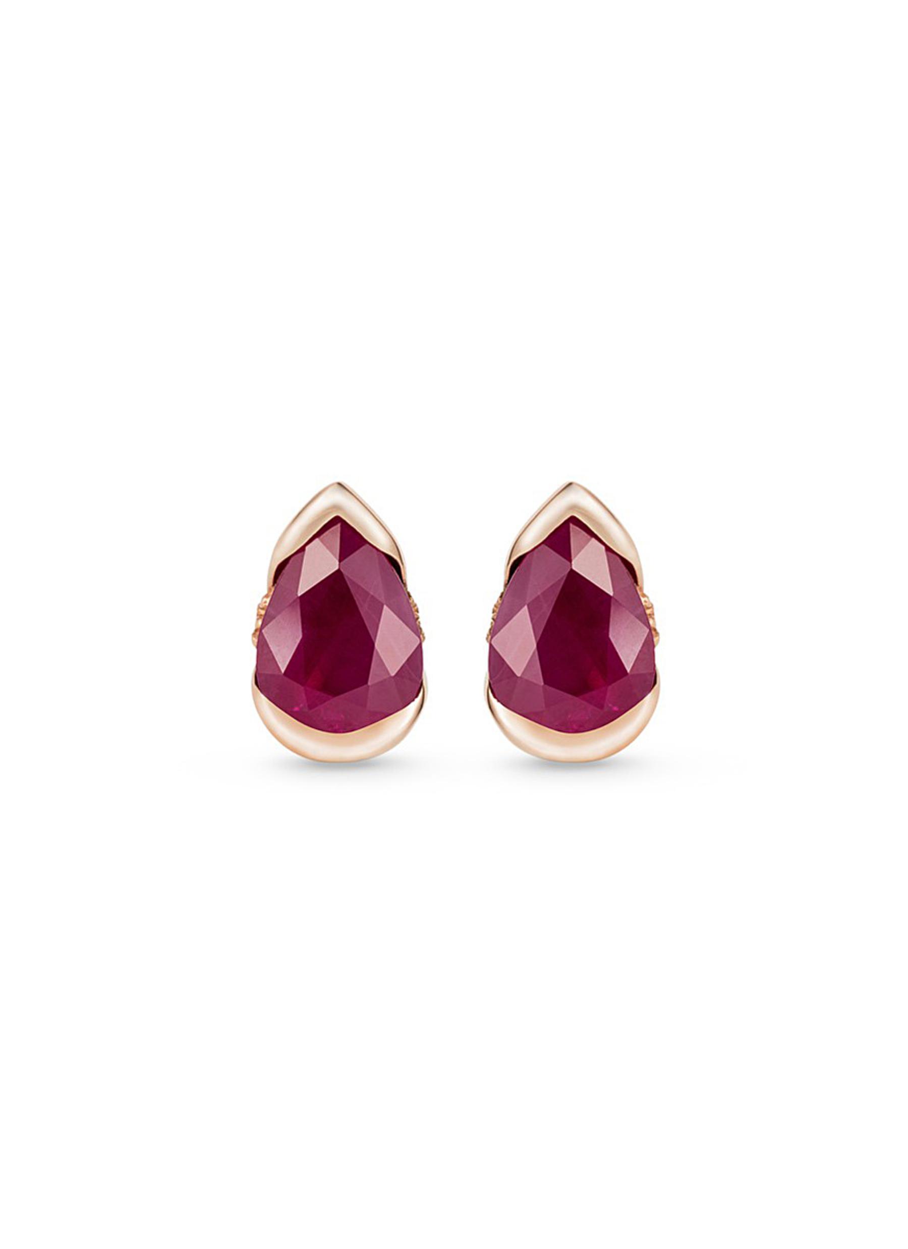 Bloom diamond ruby 18k rose gold small stud earrings by Fernando Jorge