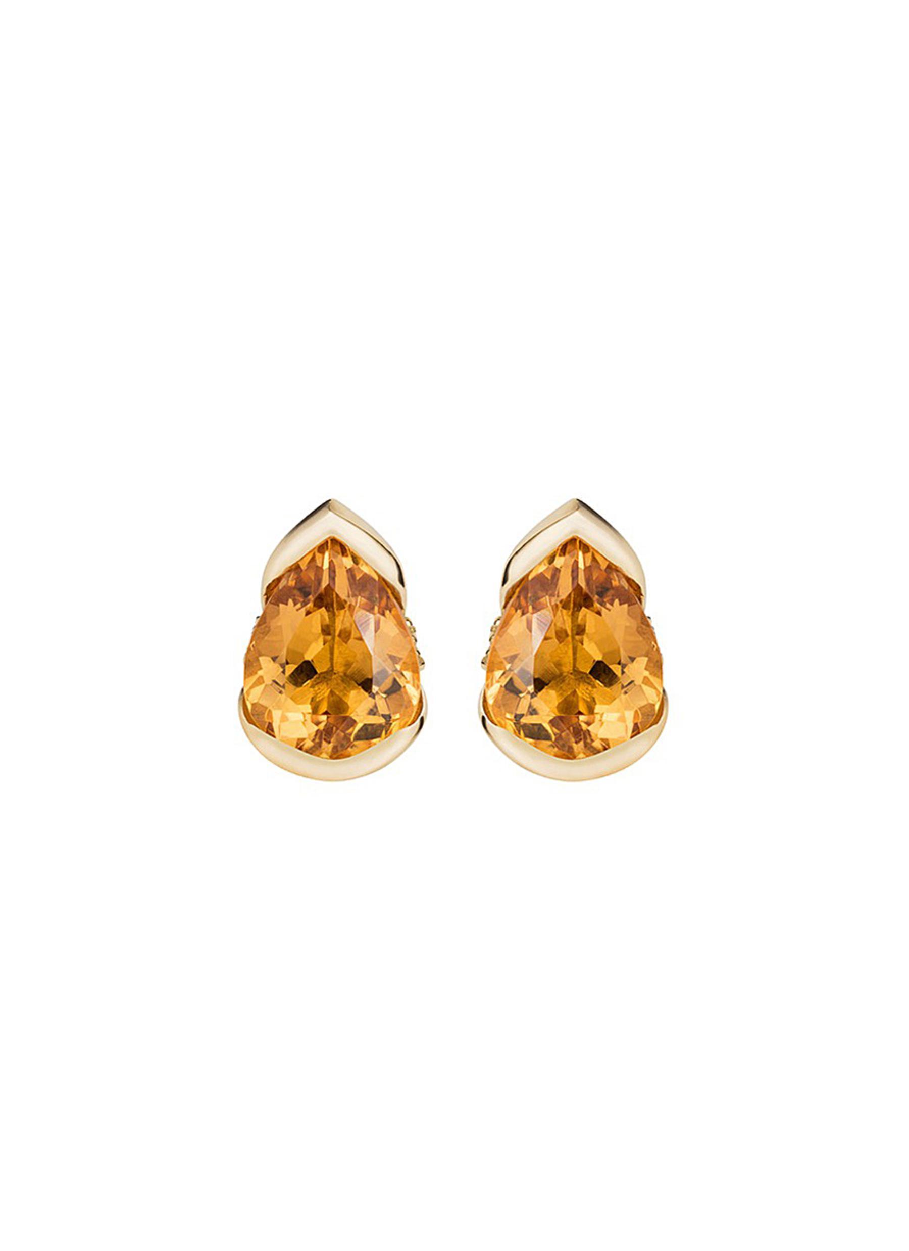 Bloom diamond topaz 18k gold large stud earrings by Fernando Jorge