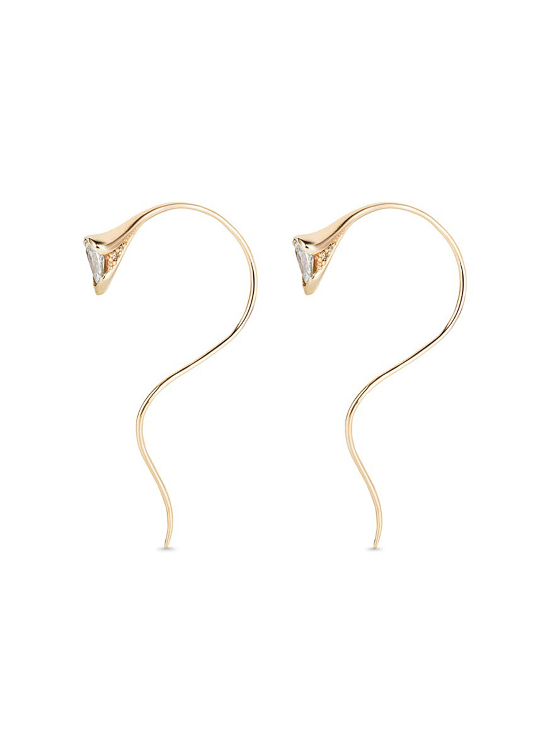 Sprout diamond 18k gold small earrings by Fernando Jorge