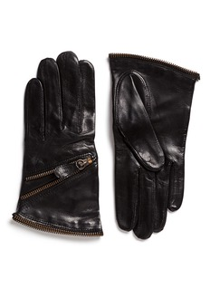Maison Fabre Zip lambskin leather short gloves