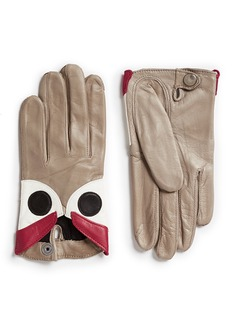 Maison Fabre Eye patchwork lambskin leather short gloves