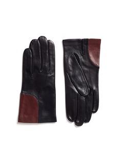 Maison FabreColourblock corner lambskin leather short gloves