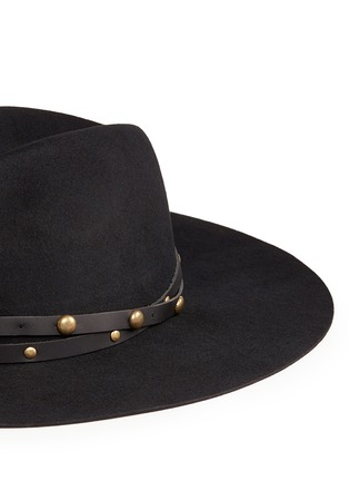 Detail View - Click To Enlarge - Sensi Studio - Stud leather band wool felt hat