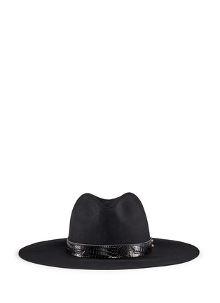 Main View - Click To Enlarge - Sensi Studio - Croc embossed leather band wool felt hat