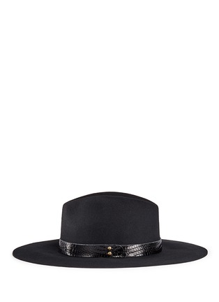 Figure View - Click To Enlarge - Sensi Studio - Croc embossed leather band wool felt hat